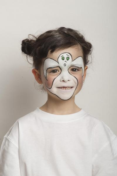 Halloween Makeup For Kids Boy.Halloween Face Painting Vampire And Ghost Make Up Step By