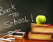 'Back to school' written on blackboard