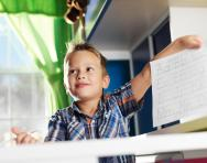 Bilingual child learning at school