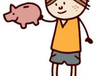 Boy and piggy bank