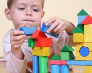 Boy building with blocks