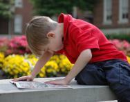 Boy reading comic