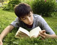 Boy reading in the park