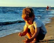 Boy shell hunting