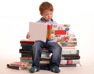 Young boy reading books