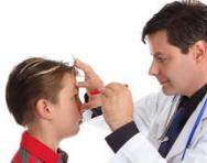 Child having an eye test
