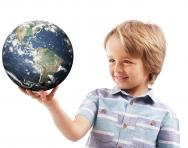 Child holding the world