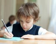 Child completing exam
