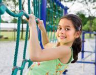 Child on climbing frame