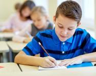 Child taking exam