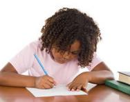 Child writing a poem