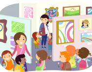 Children in an art gallery