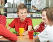 Children in school cafeteria