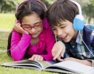 Children listening to an audiobook