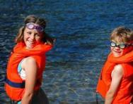 Children wearing life jackets