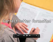 Correct letter formation in handwriting video