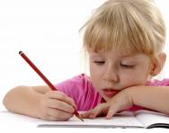 Girl practising handwriting