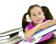Girl with books and folders