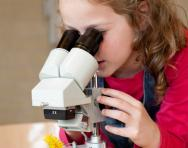Little girl looking at flower through microscope