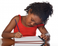 Girl writing in notebook