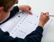 Boy practising non-verbal reasoning