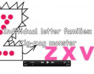 Letter formation video, Zig-zag monster letter family