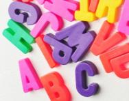 Magnetic letters on a fridge