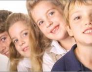 Line of smiling children