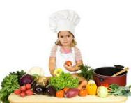 Little girl dressed as a chef