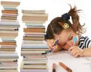 Little girl studying hard