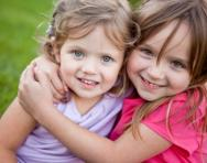 Little girls hugging