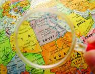 Magnifying glass over map