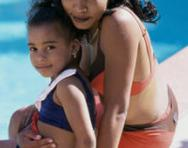 Mum and daughter at the swimming pool
