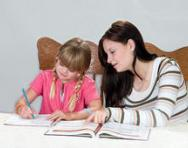 Mum and daughter studying