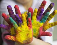 Children's painted hands