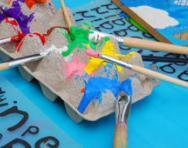 Paints on egg box