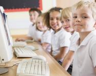 Primary-school children using computers