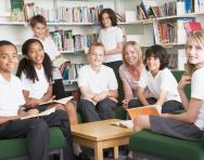 Pupils in school library