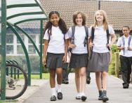 Schoolgirls leaving school