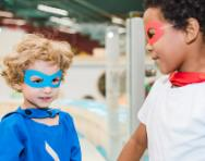 Children in cheap, easy costumes