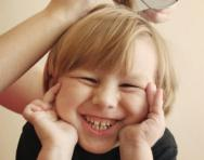 Boy being treated for head lice