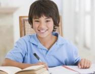 Boy revising