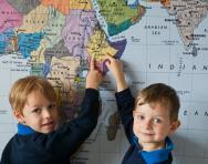 Children looking at a map