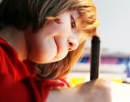 Reception child writing