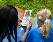 Girls reading non-fiction text