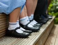 School children's feet