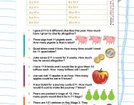 11 times table word problems worksheet