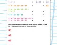 11 times table as repeated addition worksheet