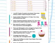 12 times table word problems worksheet