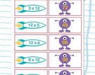 12 times table matching challenge worksheet
